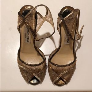 Jimmy Choo Bronze Mesh Heels